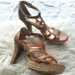 Sofft Tan Leather Platfrom High Heel Sandals